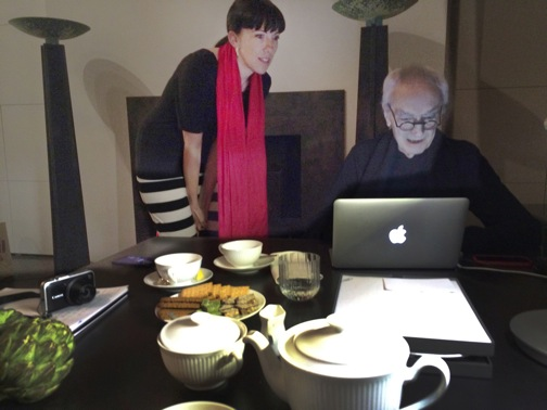 Jenny Taylor and Massimo Vignelli at the Vignelli residence NYC, April 24, 2014 photo by Katherine McCoy