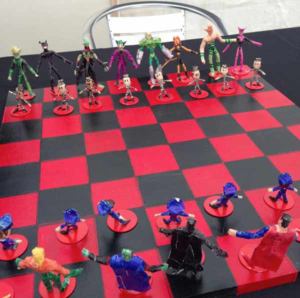 Superhero chess set by Jose, an artist from VSA Access Gallery